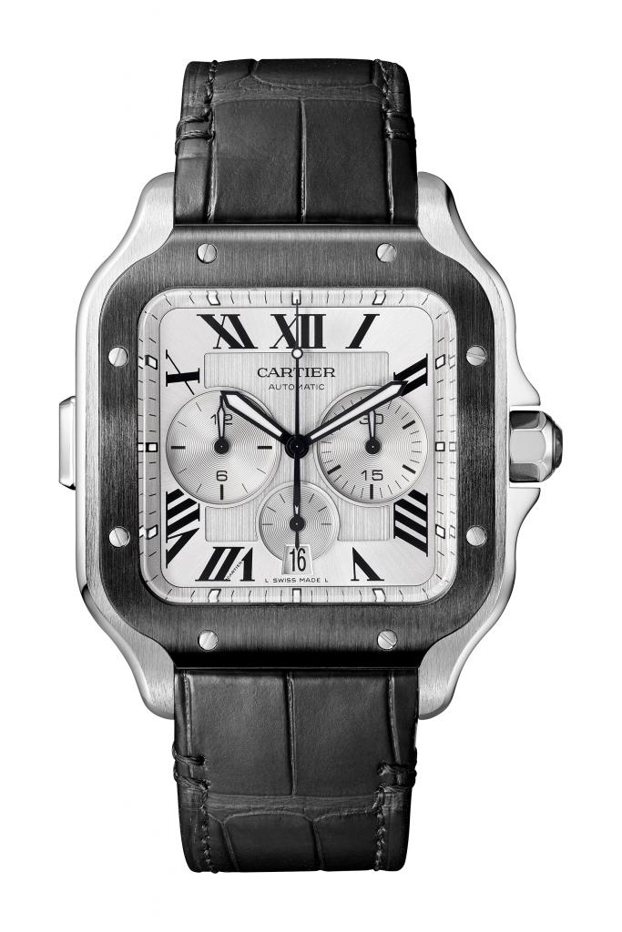 Replica Cartier Santos Cartier Chronograph acciaio DLC braccialetto