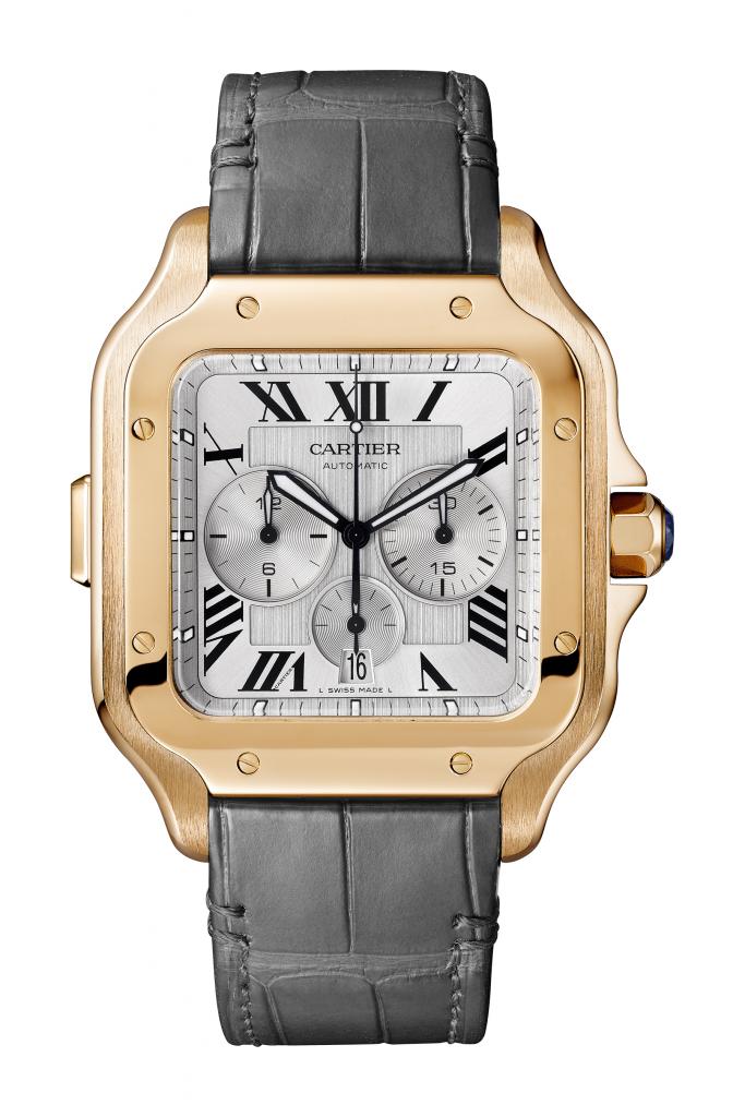 Replica Cartier Santos de Cartier Chronograph RG pelle